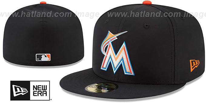 Marlins '2018 PROLIGHT-BP' Black Fitted Hat by New Era : pictured without stickers that these products are shipped with
