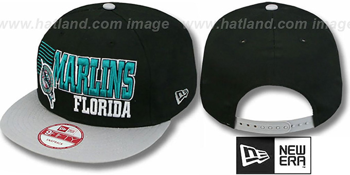 Marlins '2T BORDERLINE SNAPBACK' Black-Grey Hat by New Era : pictured without stickers that these products are shipped with