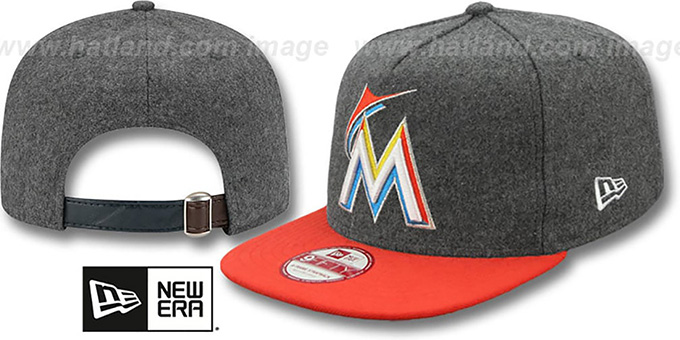Marlins '2T MELTON A-FRAME STRAPBACK' Hat by New Era : pictured without stickers that these products are shipped with