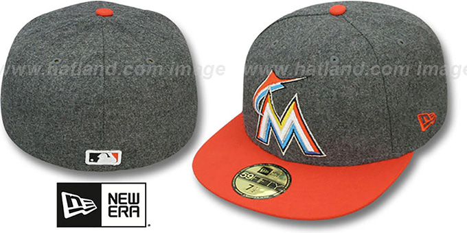 Marlins '2T MELTON-BASIC' Grey-Orange Fitted Hat by New Era : pictured without stickers that these products are shipped with