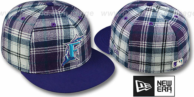 Marlins '2T PLAIDZ' Purple Fitted Hat by New Era : pictured without stickers that these products are shipped with