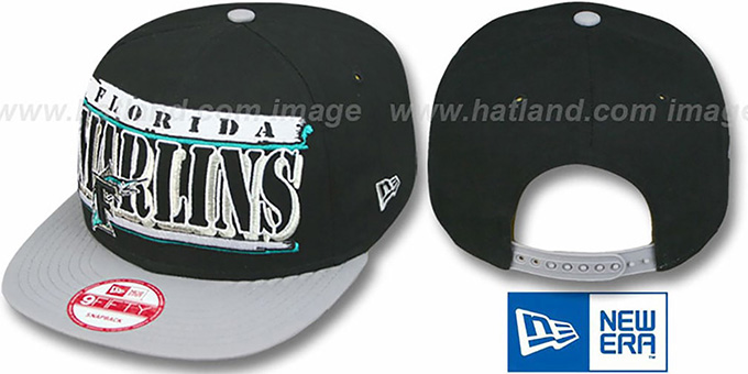Marlins '2T STILL BREAKIN SNAPBACK' Black-Grey Hat by New Era : pictured without stickers that these products are shipped with