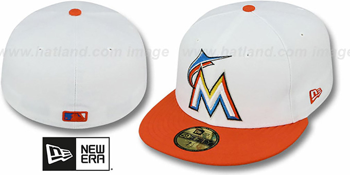 Marlins '2T TEAM-BASIC' White-Orange Hat by New Era : pictured without stickers that these products are shipped with