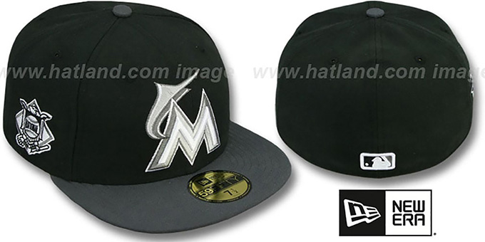 Marlins 'BAYCIK' Black-Grey Fitted Hat by New Era : pictured without stickers that these products are shipped with