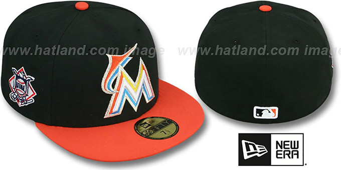 Marlins 'BAYCIK' Black-Orange Fitted Hat by New Era : pictured without stickers that these products are shipped with