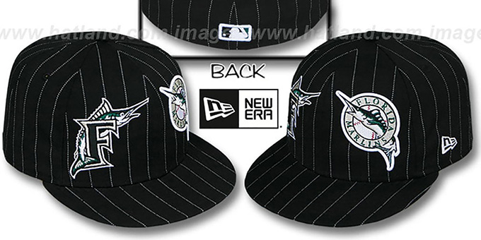 Marlins 'BIG-ONE DOUBLE WHAMMY' Black-White Fitted Hat : pictured without stickers that these products are shipped with