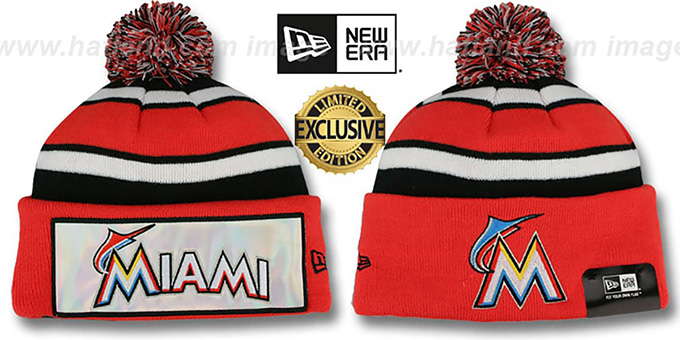 Marlins 'BIG-SCREEN' Knit Beanie Hat by New Era : pictured without stickers that these products are shipped with