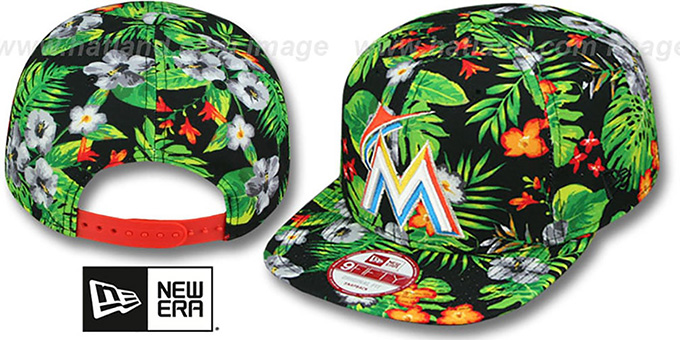 Marlins 'BLOOM SNAPBACK' Hat by New Era : pictured without stickers that these products are shipped with