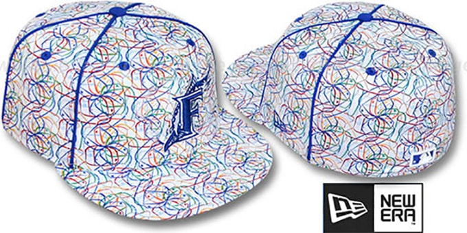 Marlins 'BRUSHED-ART' White-Multi Fitted Hat by New Era : pictured without stickers that these products are shipped with
