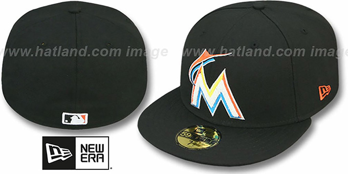 Marlins 'CHENILLE APPLIQUE' Black Fitted Hat by New Era : pictured without stickers that these products are shipped with
