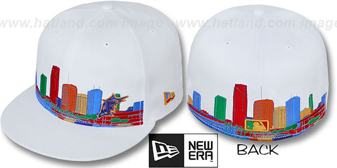 Marlins 'CITY DEEP-SKYLINE' White-Multi Fitted Hat by New Era : pictured without stickers that these products are shipped with
