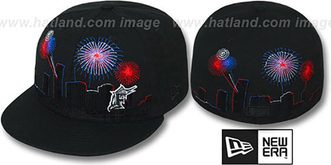 Marlins 'CITY-SKYLINE FIREWORKS' Black Fitted Hat by New Era : pictured without stickers that these products are shipped with