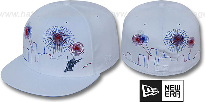 Marlins 'CITY-SKYLINE FIREWORKS' White Fitted Hat by New Era : pictured without stickers that these products are shipped with