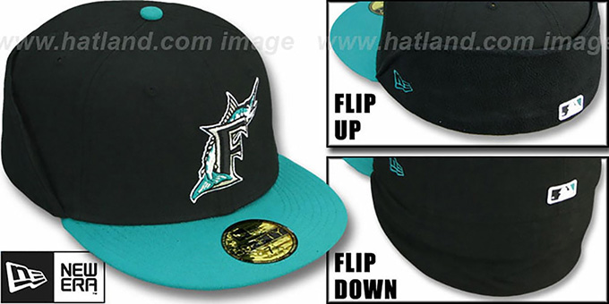 Marlins 'CLEAN CUT FLIP-DOWN' Black-Teal Fitted Hat by New Era : pictured without stickers that these products are shipped with