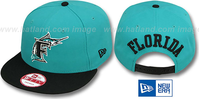 Marlins COOP 'TEAM-BASIC SNAPBACK' Teal-Black Hat by New Era : pictured without stickers that these products are shipped with
