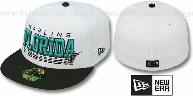 Marlins 'DISSOLVER' White-Black Fitted Hat by New Era : pictured without stickers that these products are shipped with