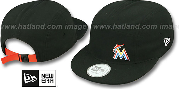 Marlins 'FLAWLESS CAMPER STRAPBACK' Black Hat by New Era : pictured without stickers that these products are shipped with
