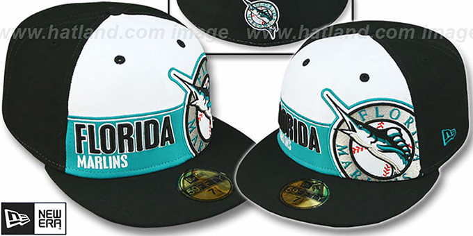 Marlins 'FOUL BALL' White-Black Fitted Hat by New Era : pictured without stickers that these products are shipped with