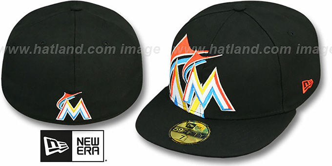Marlins 'FUNKY MASCOT' Black Fitted Hat by New Era : pictured without stickers that these products are shipped with