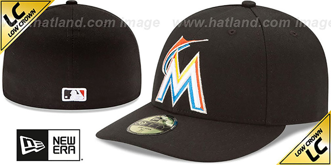 Marlins 'LOW-CROWN' HOME Fitted Hat by New Era : pictured without stickers that these products are shipped with