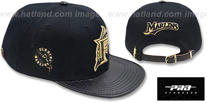 Marlins 'METALLIC POP STRAPBACK' Black Hat by Pro Standard : pictured without stickers that these products are shipped with