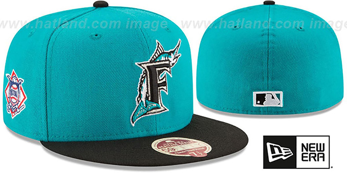 Marlins 'MLB COOPERSTOWN WOOL-STANDARD' Teal-Black Fitted Hat by New Era : pictured without stickers that these products are shipped with