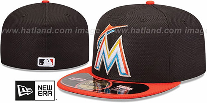 Marlins 'MLB DIAMOND ERA' 59FIFTY Black-Orange BP Hat by New Era : pictured without stickers that these products are shipped with