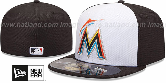 Marlins 'MLB DIAMOND ERA' 59FIFTY White-Black BP Hat by New Era : pictured without stickers that these products are shipped with