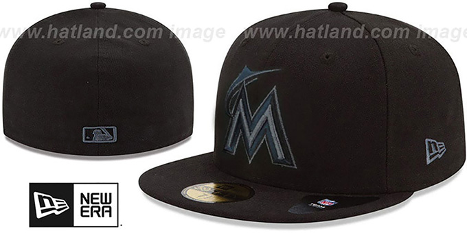 Marlins 'MLB FADEOUT-BASIC' Black Fitted Hat by New Era : pictured without stickers that these products are shipped with
