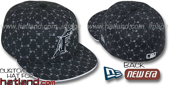 Marlins 'MLB FLOCKING' Black Fitted Hat by New Era : pictured without stickers that these products are shipped with