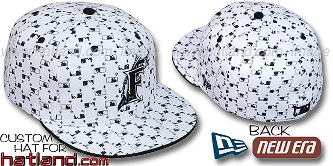 Marlins 'MLB FLOCKING' White-Black Fitted Hat by New Era : pictured without stickers that these products are shipped with