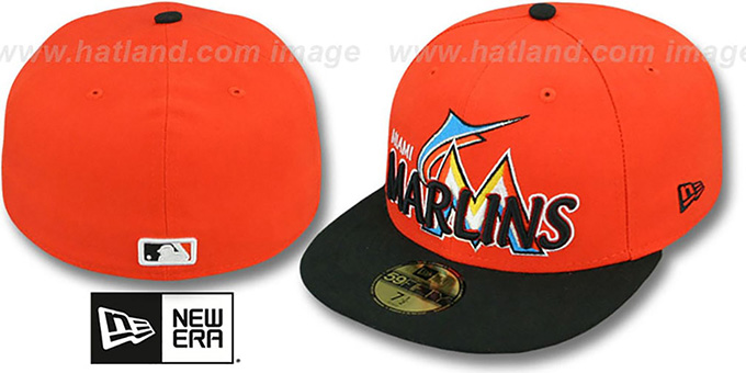 Marlins 'MLB-TIGHT' Orange-Black Fitted Hat by New Era : pictured without stickers that these products are shipped with
