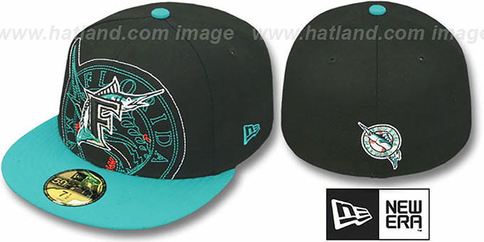 Marlins 'NEW MIXIN' Black-Teal Fitted Hat by New Era : pictured without stickers that these products are shipped with