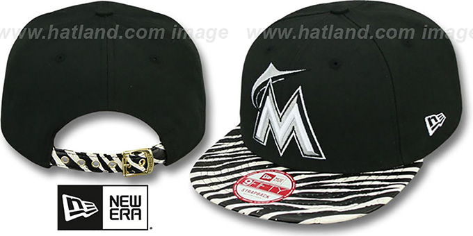 Marlins 'OSTRICH-ZEBRA STRAPBACK' Hat by New Era : pictured without stickers that these products are shipped with