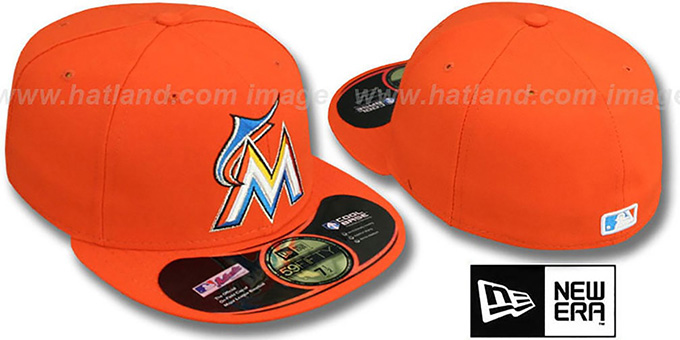 Marlins 'PERFORMANCE ROAD' Hat by New Era : pictured without stickers that these products are shipped with