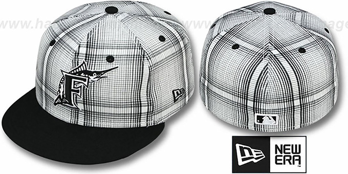 Marlins 'PLAIDIE' Black Fitted Hat by New Era : pictured without stickers that these products are shipped with