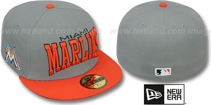 Marlins 'PRO-ARCH' Grey-Orange Fitted Hat by New Era : pictured without stickers that these products are shipped with