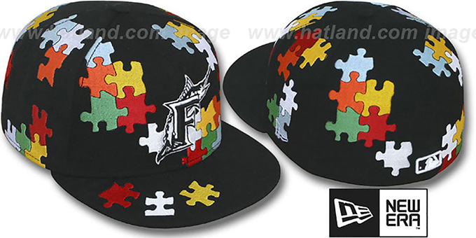 Marlins 'PUZZLE' Black Fitted Hat by New Era : pictured without stickers that these products are shipped with