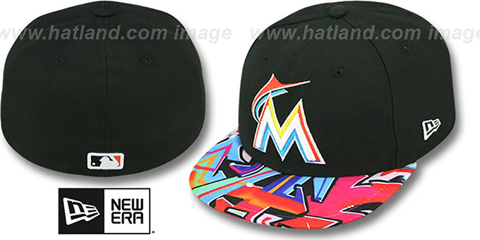 Marlins 'REAL GRAFFITI VIZA-PRINT' Black Fitted Hat by New Era : pictured without stickers that these products are shipped with
