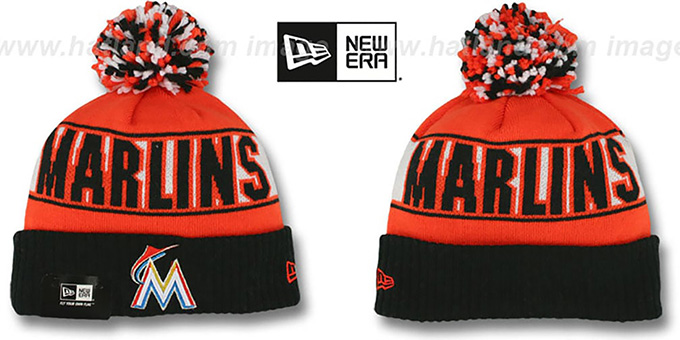 Marlins 'REP-UR-TEAM' Knit Beanie Hat by New Era : pictured without stickers that these products are shipped with
