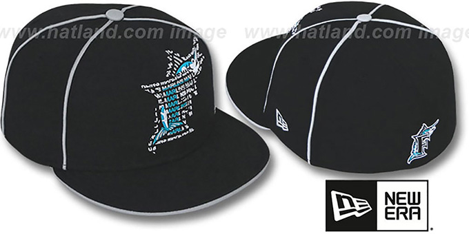 Marlins 'REPEAT BIG-ONE' Black Fitted Hat by New Era : pictured without stickers that these products are shipped with