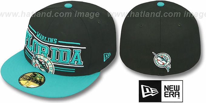 Marlins 'RETRO-SMOOTH' Black-Teal Fitted Hat by New Era : pictured without stickers that these products are shipped with
