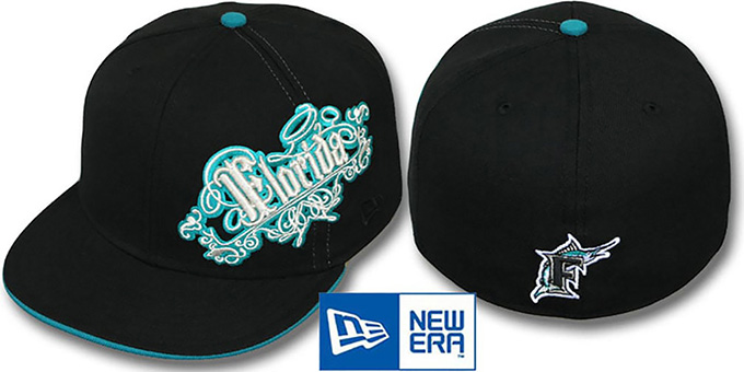 Marlins 'ROYALE OLD ENGLISH' Black Fitted Hat by New Era : pictured without stickers that these products are shipped with