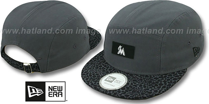 Marlins 'SAFARI CAMPER STRAPBACK' Grey Hat by New Era : pictured without stickers that these products are shipped with