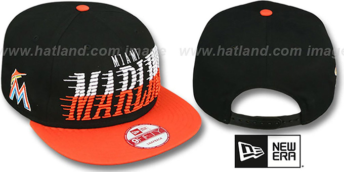Marlins 'SAILTIP SNAPBACK' Black-Orange Hat by New Era : pictured without stickers that these products are shipped with