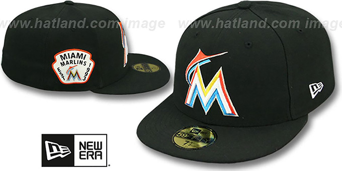 Marlins 'SIDE TEAM-PATCH' Black Fitted Hat by New Era : pictured without stickers that these products are shipped with