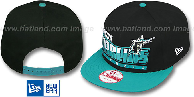 Marlins 'SLICE-N-DICE SNAPBACK' Black-Teal Hat by New Era : pictured without stickers that these products are shipped with