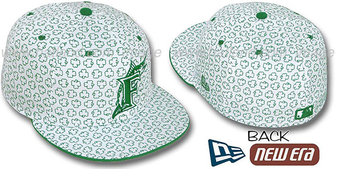 Marlins 'ST PATS FLOCKING' White Fitted Hat by New Era : pictured without stickers that these products are shipped with