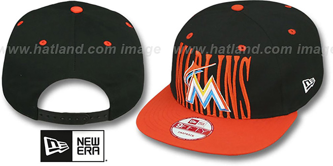 Marlins 'STEP-ABOVE SNAPBACK' Black-Orange Hat by New Era : pictured without stickers that these products are shipped with