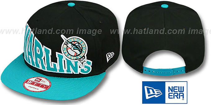 Marlins 'STOKED SNAPBACK' Black-Teal Hat by New Era : pictured without stickers that these products are shipped with